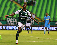 PALMIRA - COLOMBIA, 27-10-2018: Kevin Velasco (Der) jugador del Deportivo Cali celebra después de anotar el tercer gol de su equipo a Jaguares de Córdoba durante partido por la fecha 17 de la Liga Águila II 2017 jugado en el estadio Palmaseca de la ciudad de Palmira. / Kevin Velasco (R) player of Deportivo Cali celebrates after scoring the third goal of his team to Jaguares de Cordoba during match for the date 17 of the Aguila League II 2017 played at Palmaseca stadium in Palmira city.  Photo: VizzorImage/ Nelson Rios / Cont