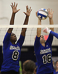 Morgan McAlpin and Johanna Hummel block for the Marymount University Saints during first round action at the 6th annual Worthington Classic at Gallaudet University in Washington, D.C., on Friday, Sept. 28, 2012. .Photo by Cathleen Allison