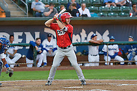 John Schuknecht (25) of the Orem Owlz at bat against the Ogden Raptors in Pioneer League action at Lindquist Field on September 9, 2016 in Ogden, Utah. This was Game 1 of the Southern Division playoff. Orem defeated Ogden 6-5. (Stephen Smith/Four Seam Images)