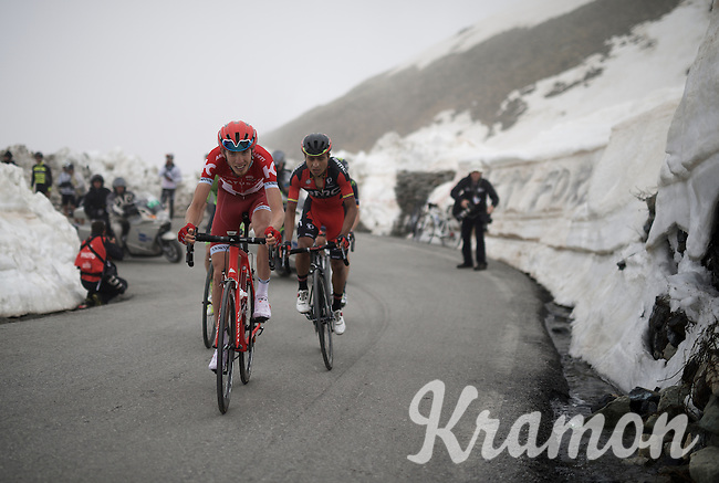 Ilnur Zakarin (RUS/Katusha) up the snow-covered Colle dell'Agnello (2744m)<br /> In the descent he would crash heavily & break his shoulder (and leaving the mountain in an ambulance...)<br /> <br /> stage 19: Pinerolo(IT) - Risoul(FR) 162km<br /> 99th Giro d'Italia 2016