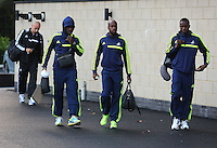 Wednesday 18 September 2013<br /> Pictured L-R: Wilfried Bony, Dwight Tiendalli and Roland Lamah and  about to board the team coach in Swansea. <br /> Re: Swansea City FC players and staff travelling to Spain for their UEFA Europa League game against Valencia.