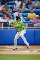Lynchburg Hillcats left fielder Jodd Carter (7) at bat during a game against the Salem Red Sox on May 10, 2018 at Haley Toyota Field in Salem, Virginia.  Lynchburg defeated Salem 11-5.  (Mike Janes/Four Seam Images)