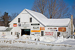 Snow-covered antique shop in Bethel, White Mountain region, ME
