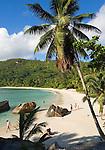 Seychelles, Island Mahe, Anse Takamaka: people at the beach
