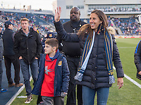 Chester, PA - April 8, 2016: USWNT captain Carli Lloyd was the honorary captain at the Major League Soccer (MLS) match at Talen Energy Stadium