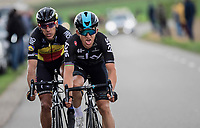 Michal Kwiatkowski (POL/SKY) & Philippe Gilbert (BEL/Quick Step floors) racing together towards the finish<br /> <br /> 52nd Amstel Gold Race (1.UWT)<br /> 1 Day Race: Maastricht › Berg en Terblijt (264km)