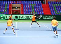 04-04-12, Netherlands, Amsterdam, Tennis, Daviscup, Netherlands-Rumania, training, Rojer/Sijsling tegen Haase en Schoorel aan de overkant
