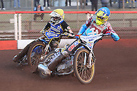 Heat 3: Kim Nilsson (blue) and Nicolai Klindt - Vortex Lakeside Hammers vs Kings Lynn Stars - Sky Sports Elite League Speedway at Arena Essex Raceway, Purfleet - 23/04/13 - MANDATORY CREDIT: Gavin Ellis/TGSPHOTO - Self billing applies where appropriate - 0845 094 6026 - contact@tgsphoto.co.uk - NO UNPAID USE.