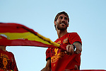 02.07.2012.Sergio Ramos during Tour of Madrid of the Spanish football team to celebrate their victory in Euro 2012 july 2012.(ALTERPHOTOS/ARNEDO)
