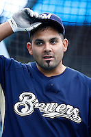 Johnny Estrada of the Milwaukee Brewers during batting practice before a game from the 2007 season at Dodger Stadium in Los Angeles, California. (Larry Goren/Four Seam Images)