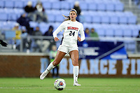 CHAPEL HILL, NC - NOVEMBER 16: Paige Hewitt #24 of Belmont University plays the ball during a game between Belmont and North Carolina at UNC Soccer and Lacrosse Stadium on November 16, 2019 in Chapel Hill, North Carolina.