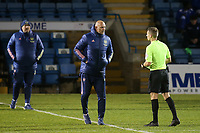 Arsenal U23 Manager, Steve Bould speaks to match referee, Mr Will Finnie after ninety minutes during Gillingham vs Arsenal Under-21, Papa John's Trophy Football at the MEMS Priestfield Stadium on 10th November 2020