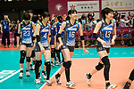 Japan Team celebrating after winning Russia during the FIVB Volleyball World Grand Prix match between Japan vs Russia on 23 July 2017 in Hong Kong, China. Photo by Marcio Rodrigo Machado / Power Sport Images