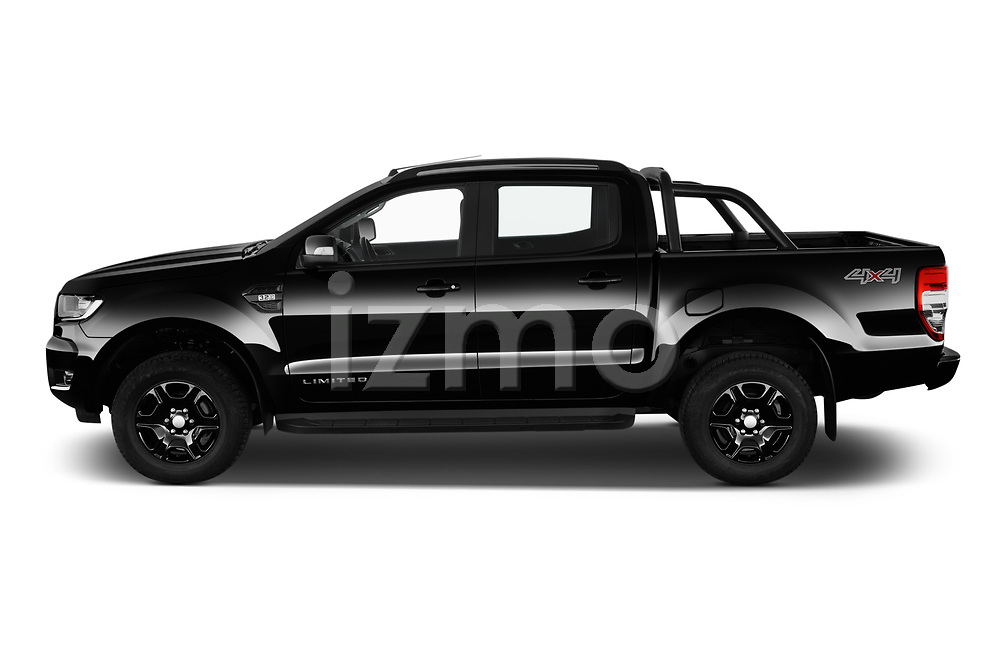 Car Driver side profile view of a 2018 Ford Ranger Limited-Black-Edition 4 Door Pick-up Side View