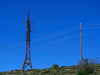 Strommasten, Kulturlandschaft bei Separa, Samzche-Dschawacheti, Georgien, Europa<br /> power pole  near Separa, Samzche-Dschawacheti,  Georgia, Europe