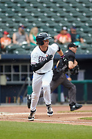 NW Arkansas Travelers Bobby Witt Jr. (7) runs to first base after hitting a double during a game against the Tulsa Drillers on June 5, 2021 at Arvest Ballpark in Springdale, Arkansas.  (Travis Berg/Four Seam Images)