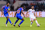 Komail Hasan Alaswad of Bahrain (R) competes for the ball with Pritam Kotal of India (C) during the AFC Asian Cup UAE 2019 Group A match between India (IND) and Bahrain (BHR) at Sharjah Stadium on 14 January 2019 in Sharjah, United Arab Emirates. Photo by Marcio Rodrigo Machado / Power Sport Images