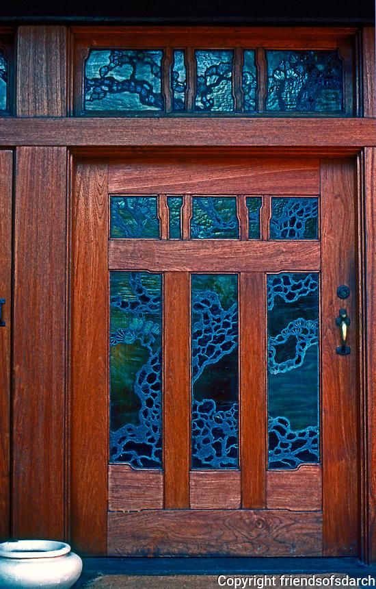 Greene & Greene: Gamble House. Front door.  Photo '77.