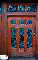 Greene & Greene: Gamble House. Front door.  Photo '77.