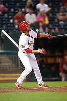 Springfield Cardinals shortstop Aledmys Diaz (16) at bat during a game against the Frisco RoughRiders  on June 3, 2015 at Hammons Field in Springfield, Missouri.  Springfield defeated Frisco 7-2.  (Mike Janes/Four Seam Images)