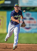 29 June 2014:  Vermont Lake Monsters first baseman Ryan Huck in action against the Lowell Spinners at Centennial Field in Burlington, Vermont. The Lake Monsters fell to the Spinners 7-5 in NY Penn League action. Mandatory Credit: Ed Wolfstein Photo *** RAW Image File Available ****