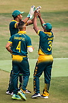 Farhaan Sayanvala of South Africa celebrates with teammates during Day 2 of Hong Kong Cricket World Sixes 2017 Cup final match between Pakistan vs South Africa at Kowloon Cricket Club on 29 October 2017, in Hong Kong, China. Photo by Vivek Prakash / Power Sport Images