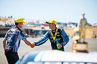 Jul 30, 2017; Sonoma, CA, USA; NHRA pro stock driver Tanner Gray (right) celebrates with pro stock motorcycle rider L.E. Tonglet after winning the Sonoma Nationals at Sonoma Raceway. Mandatory Credit: Mark J. Rebilas-USA TODAY Sports