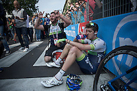 Luke Durbridge (AUS/Orica-GreenEDGE) finishes an unfortunate 2nd in the final stage of the 2015 Giro and needs to recuperate straight after finishing <br /> <br /> Giro d'Italia 2015<br /> final stage 21: Torino - Milano (178km)