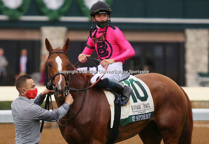 Octover 09, 2020 : #10 Got Stormy and jockey Tyler Gaffalione win the Buffalo Trace Franklin County Grade 3 $150,000 for trainer Mark Casse at Keeneland Racecourse in Lexington, KY on October 09, 2020.  Candice Chavez/ESW/CSM