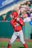 Leonardo Rivas (3) of the Orem Owlz bats against the Ogden Raptors in Pioneer League action at Lindquist Field on June 27, 2017 in Ogden, Utah. Ogden defeated Orem 14-5. (Stephen Smith/Four Seam Images)