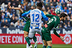 Chidozie Collins Awaziem of CD Leganes and Facundo Ferreyra of RCD Espanyol during La Liga match between CD Leganes and RCD Espanyol at Butarque Stadium in Leganes, Spain. December 22, 2019. (ALTERPHOTOS/A. Perez Meca)