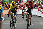 Race leader Yellow Jersey Egan Bernal (COL) and team mate Geraint Thomas (WAL) Team Ineos cross the finish line at the end of Stage 20 of the 2019 Tour de France running 59.5km from Albertville to Val Thorens, France. 27th July 2019.<br /> Picture: Colin Flockton | Cyclefile<br /> All photos usage must carry mandatory copyright credit (© Cyclefile | Colin Flockton)