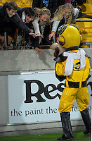 Captain Hurricane entertains fans during the Super Rugby match between the Hurricanes and Southern Kings at Westpac Stadium, Wellington, New Zealand on Friday, 25 March 2016. Photo: Dave Lintott / lintottphoto.co.nz