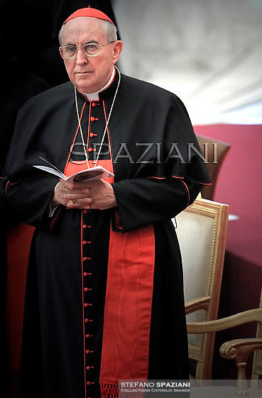 Cardinal Agostino Vallini Pope Benedict XVI leads a prayer on the eve of his interreligious talks of Assisi on October 26, 2011 at the Paul VI hall at The Vatican.