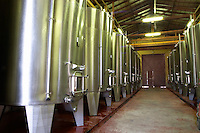 The vat cellar with stainless steel fermentation tanks  Chateau de Haux Premieres Cotes de Bordeaux  Entre-deux-Mers  Bordeaux Gironde Aquitaine France