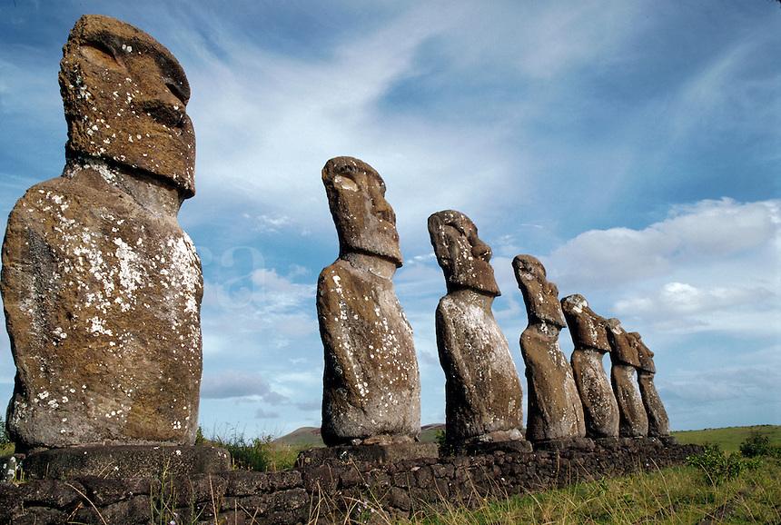 Statues at Ahu Kivi, Easter Island