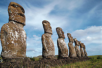 Statues at Ahu Kivi, Easter Island