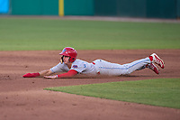 Clearwater Threshers Hunter Markwardt (9) slides head first into second base during a game against the Fort Myers Mighty Mussels on May 12, 2021 at Hammond Stadium in Fort Myers, Florida.  (Mike Janes/Four Seam Images)