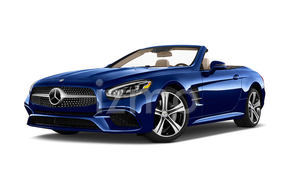 Stock pictures of low aggressive front three quarter view of 2017 Mercedes Benz SL-Class SL450 2 Door Convertible Low Aggressive