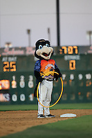 Lancaster JetHawks mascot KaBoom runs with a hula hoop during a game against the High Desert Mavericks at The Hanger on September 5, 2015 in Lancaster, California. High Desert defeated Lancaster 7-6. (Larry Goren/Four Seam Images)