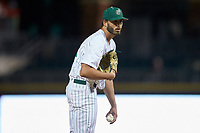 Charlotte 49ers relief pitcher Joey Cooner (26) looks to his catcher for the sign against the Clemson Tigers at BB&T BallPark on March 26, 2019 in Charlotte, North Carolina. The Tigers defeated the 49ers 8-5. (Brian Westerholt/Four Seam Images)