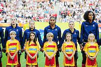 Fifa Women's World Cup Germany 2011 : France - Germany ( Frankrijk - Duitsland ) at Munchengladbach World Cup stadium : Laure LEPAILLEUR , Eugenie LE SOMMER , Laura GEORGES , Laure BOULLEAU en Wendie RENARD.foto DAVID CATRY / Vrouwenteam.be