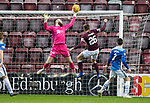 Hearts v St Johnstone…26.01.19…   Tynecastle    SPFL<br />Zander Clark tips Marcus Godinho's header over the bar<br />Picture by Graeme Hart. <br />Copyright Perthshire Picture Agency<br />Tel: 01738 623350  Mobile: 07990 594431