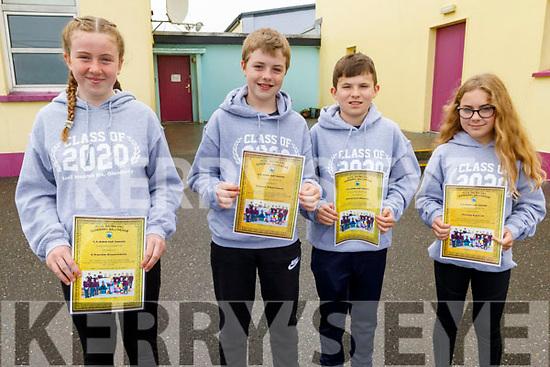 Charlie Corridon, Adam Thornton, Eamonn Harty and Jenna Lynch graduating from Glenderry NS on Friday