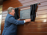 Pictured: John Toshack MBE unveils the first of the plaques Tuesday 04 April 2017<br /> Re: Official opening of the Fairwood Training Complex of Swansea City FC, Wales, UK