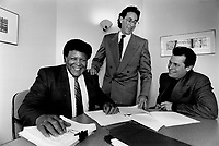 Legal dance: Chubby Checker, left, in Toronto, with lawyer David Hlmelfarb and manager Tony DeLauro yesterday, is suing McDonald's Canada for using the song The Twist to promote McTwist fries.<br /> <br /> Photo : Boris Spremo - Toronto Star archives - AQP