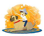 Illustration of boy with sword sitting on dog over white background