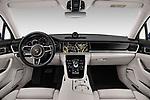 Stock photo of straight dashboard view of a 2018 Porsche Panamera 4S 5 Door Hatchback