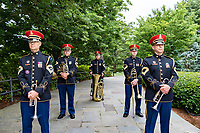 "The U.S. Army Band, ""Pershing's Own"", prepares to march out as part of the National Memorial Day Observance at Arlington National Cemetery, Arlington, Virginia, May 25, 2020. This was the 152nd Memorial Day wreath-laying and observance ceremony at Arlington National Cemetery. (U.S. Army photo by Elizabeth Fraser / Arlington National Cemetery / released)"