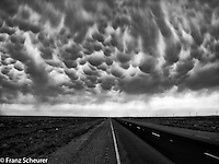 Mammatus are pouch-like cloud structures and a rare example of clouds in sinking air.  Outback NSW.